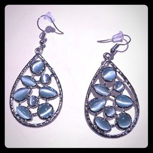 "3/$24 1 3/4"" Silver/Baby Blue Chandler Earrings"